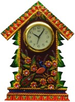 ECraftIndia Papier-Mache Floral Hut Design Analog Wall Clock (Green, Brown)