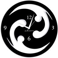 Blacksmith Round Chakri Black Analog Wall Clock Black