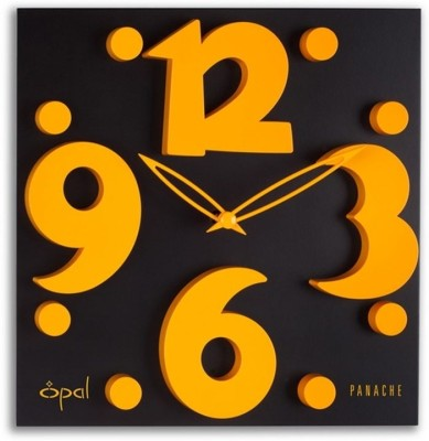 opal designer clock raised figures analog wall clock black - Designer Wall Clocks Online