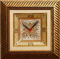 ECraftIndia Butterfly Marble With LED & Wooden Frame Analog Wall Clock (Brown)