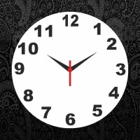 Go Hooked Black Pattern Printed Analog Wall Clock Multicolor