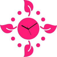 Zeeshaan Polka Leaves Pink Analog Wall Clock Pink
