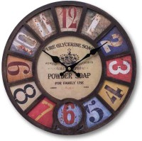 Painting Mantra Vintage Embosed MDF Analog Wall Clock (Brown)
