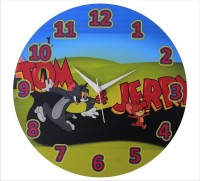 Zeeshaan Tom And Jerry Blue Green Analog Wall Clock Multicolor
