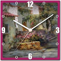 StyBuzz Painting Art House Analog Wall Clock (Multicolor)