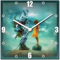 StyBuzz Robot And Girl Analog Wall Clock (Multicolor)