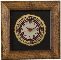 Unravel India Warli Hand Painted Wooden Analog Wall Clock (Golden Border With Black Base)