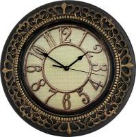 Namaskaar India Analog Wall Clock Black, Beige, With Glass