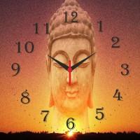 Go Hooked Designer Buddha Print Analog Wall Clock Multicolor