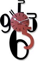 Panache Pan566 Analog Wall Clock (Brown ( Wood Finish ))