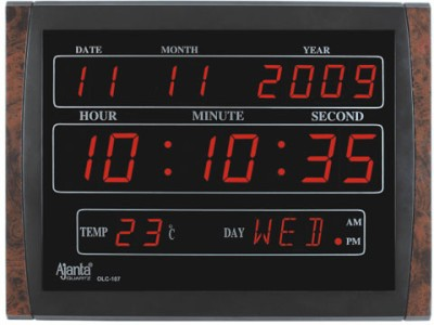 Ajanta Olc 204 Digtal Wall Clock Brown Black Best Price In