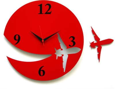 Blacksmith Aeroplane Analog Wall Clock Red
