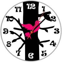 Lovely Collection Designer Tree And Chirping Bird Analog Wall Clock (Multicolour)