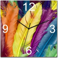 Gloob Colorful Feathers Analog Wall Clock - Multi-color