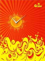 G-land Wooden Yellow Fire Analog Wall Clock Multicolor