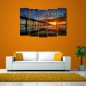 999Store Multiple Frames Printed Sea Bridge Like Modern Wall Art Painting - 5 Frames (148 X 76 Cms) - Multicolor
