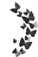 KARP 12 Pcs 3D Butterfly Removable Magnetic Wall Sticker-Black (12.5 X 0.5, Black)
