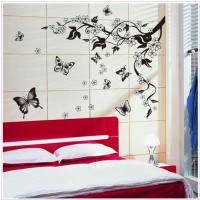 Oren Empower Black Flower With Flying Butterfly Decorative Large Wall Sticker (115 Cm X Cm 110, Black)
