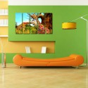 999Store Multiple Frames Printed Colourful Girafee Like Modern Wall Art Painting - 5 Frames (148 X 76 Cms) - Multicolor