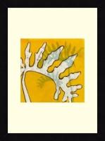 ART4U Gold Batik Botanical VI - Framed Print 16 Inch X 22 Inch (Multicolor)