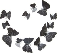 ADMI Removable 12 Pcs 3D Butterfly Wall Stickers - Black (cm 13, Black)