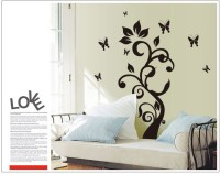 Oren Empower Black Butterfly Fly Around Tree Large Wall Sticker (175 Cm X Cm 92, Black)