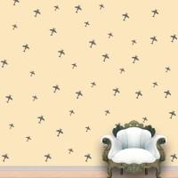 WallDesign Aeroplanes Wall Pattern Grey Stickers Set Of 52 (12.5 Cm X Cm 11.25, Grey)