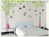 Oren Empower 2pc/set (Double Sheet) Extra Large Tree Decore Wall Photo Frame Sticker (210 Cm X Cm 275, Green, Grey)