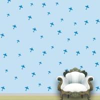 WallDesign Aeroplanes Wall Pattern Blue Stickers Set Of 52 (12.5 Cm X Cm 11.25, Blue)