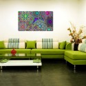 999Store Multiple Frames Printed Colourful Designs Like Modern Wall Art Painting - 5 Frames (148 X 76 Cms) - Multicolor