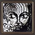 WENS Antique Budha Wall Art - White, Black
