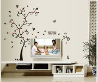 Oren Empower Picture Frame Supporting Beautiful Tree Large Wall Sticker (120 Cm X Cm 100, Black, Red)