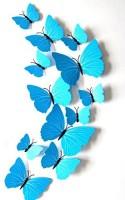 ADMI Removable 12 Pcs 3D Butterfly Wall Stickers - Plain Blue (cm 13, Blue)