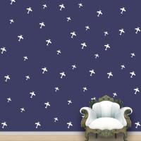 WallDesign Aeroplanes Wall Pattern White Stickers Set Of 52 (12.5 Cm X Cm 11.25, White)