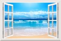 Trishlaarts Sea Beach HD Wall Sticker (60 Cm X Cm 85, Blue)