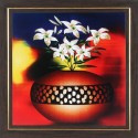 WENS White Flower With Pot Wall Painting - Multicolor