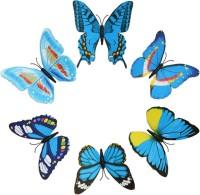 KARP 6 Pcs Removable Magnet Wall 3D Butterfly Sticker-Blue (Blue)