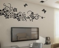 Oren Empower Beautiful Black Flower Large Wall Sticker (75 Cm X Cm 150, Black)