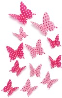 ADMI Removable 12 Pcs 3D Butterfly Wall Stickers - Doted Pink (cm 13, Pink)