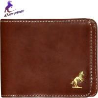 Black Horse Men Brown Genuine Leather Wallet 6 Card Slots