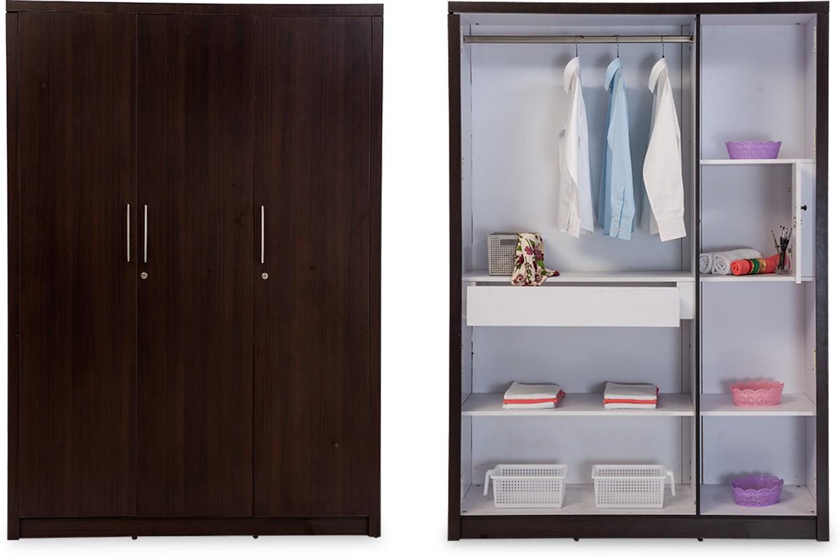 Durian Rose 3 Door Engineered Wood Free Standing Wardrobe