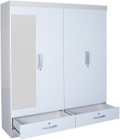 HomeTown Apollo Engineered Wood Free Standing Wardrobe (Finish Color - White, 4 Door )