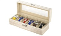 Inventure Retail 6 Slot PU Leather Organizer (White) Watch Box White, Holds 6 Watches