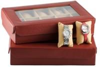 GoGappa La Grande Leather Watch Case - Elegant Red Watch Box - Elegant Red, 10 Watches
