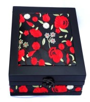 Kuero Red And Black Floral Wooden Watch Box Black, Red, Green, White, Holds 5 Watches