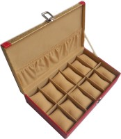 Shopkhalifa Styles Protection Cases For Watches 12 Slots (WB12GR) Watch Box Gold, Red, Holds 12 Watches