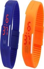 Y And D Wrist Watches Y And D Combo of Led Band Blue + Orange Digital Watch For Boys, Couple, Girls, Women, Men