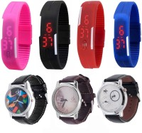 Jack Klein P_Blk_r_blu_Led_3Graphic Analog-Digital Watch  - For Boys, Girls, Men, Women