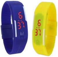 3wish LED RUBBER MAGNET BLUE YELLOW Digital Watch  - For Boys, Girls, Men, Women