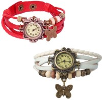 MIFY Attractive Pack Of 2 LED & Butterfly Wrist Watch (V)RD_(V)WHT Analog Watch  - For Boys, Girls, Men, Women